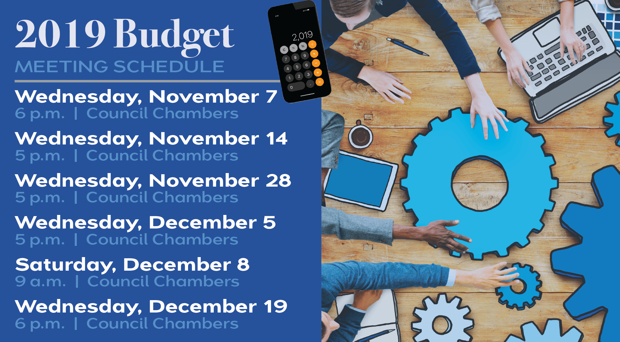 2019 Budget Meeting Schedule
