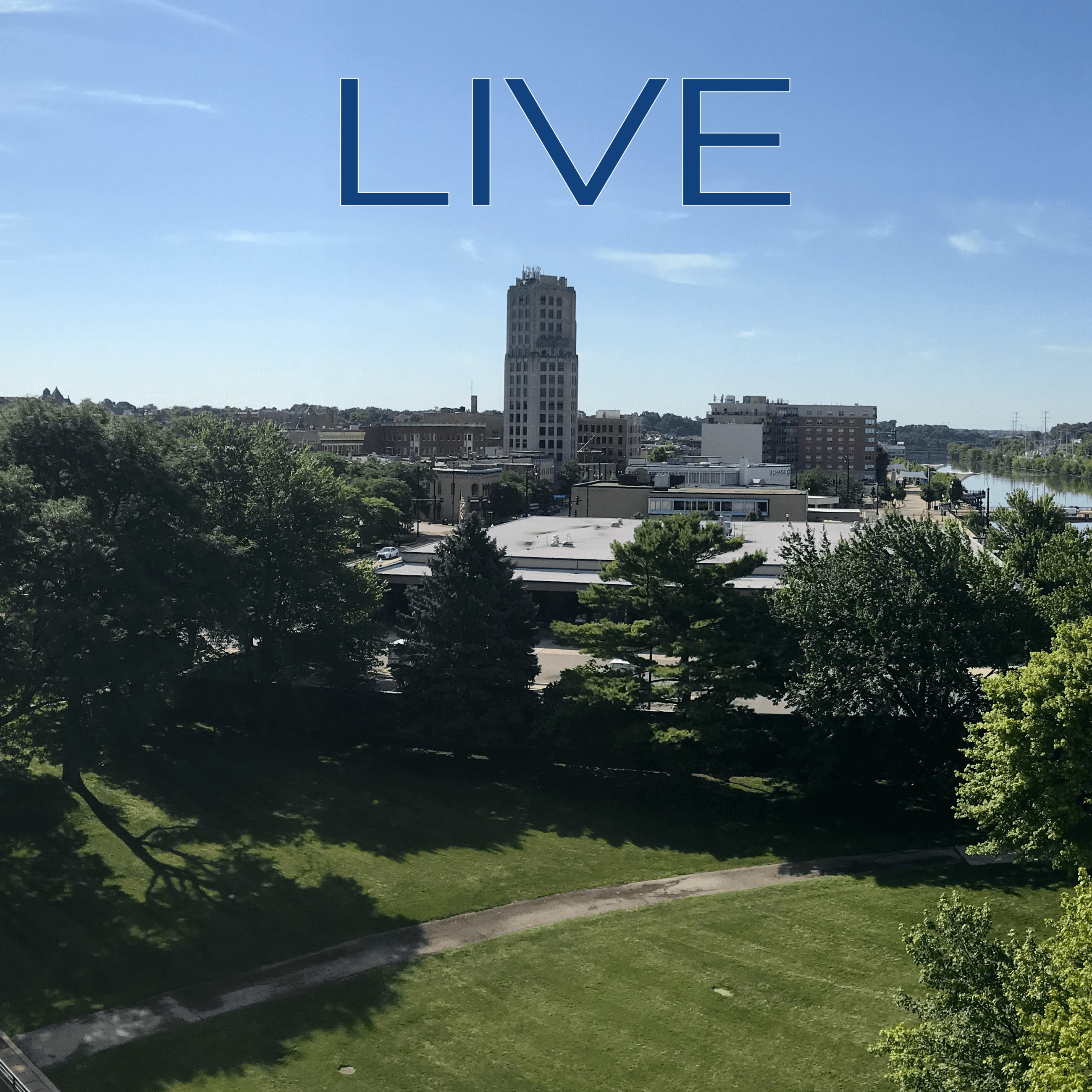 "Word ""Live"" over Elgin downtown panoramic photo"