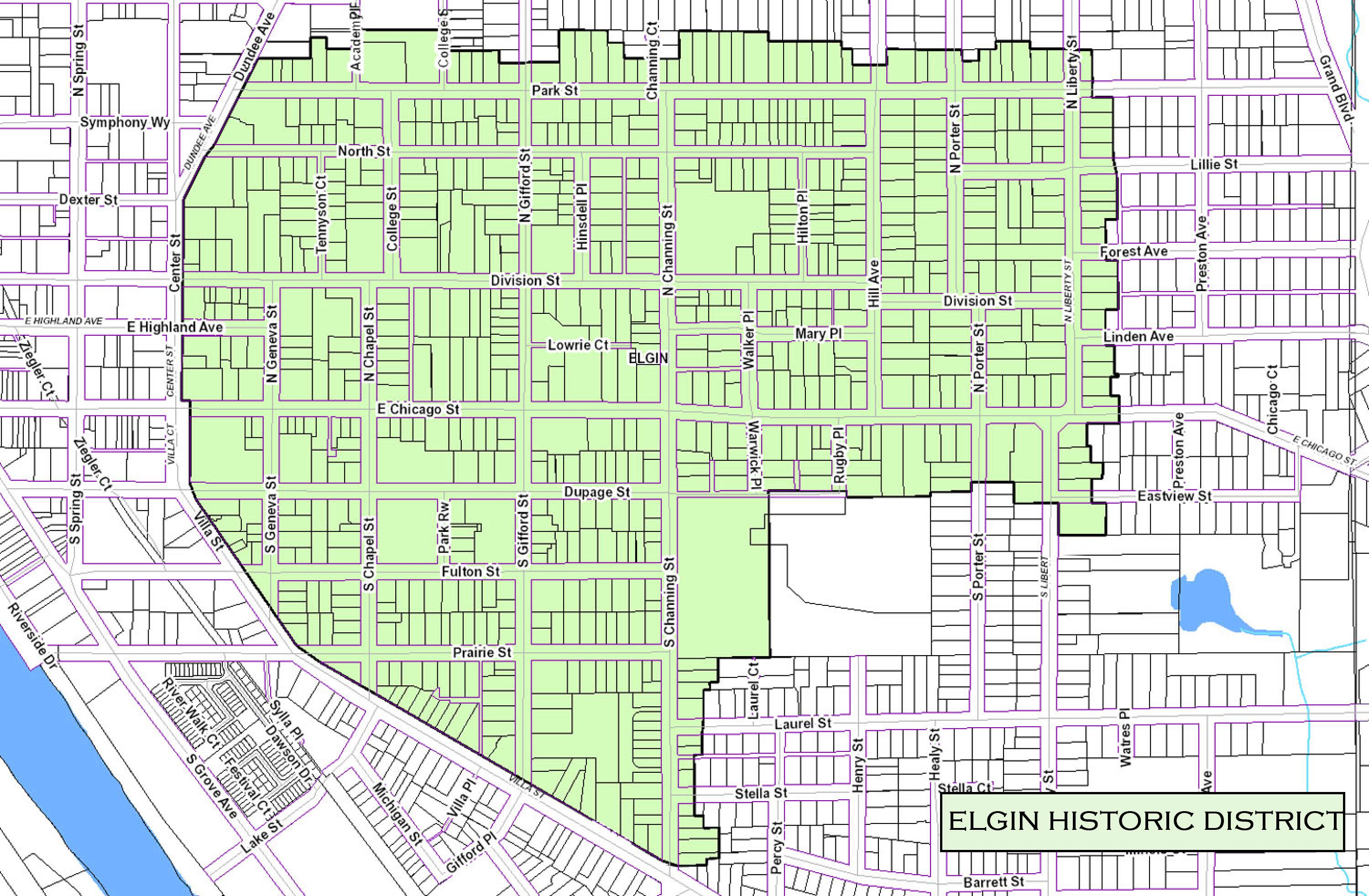 Elgin Historic District Map