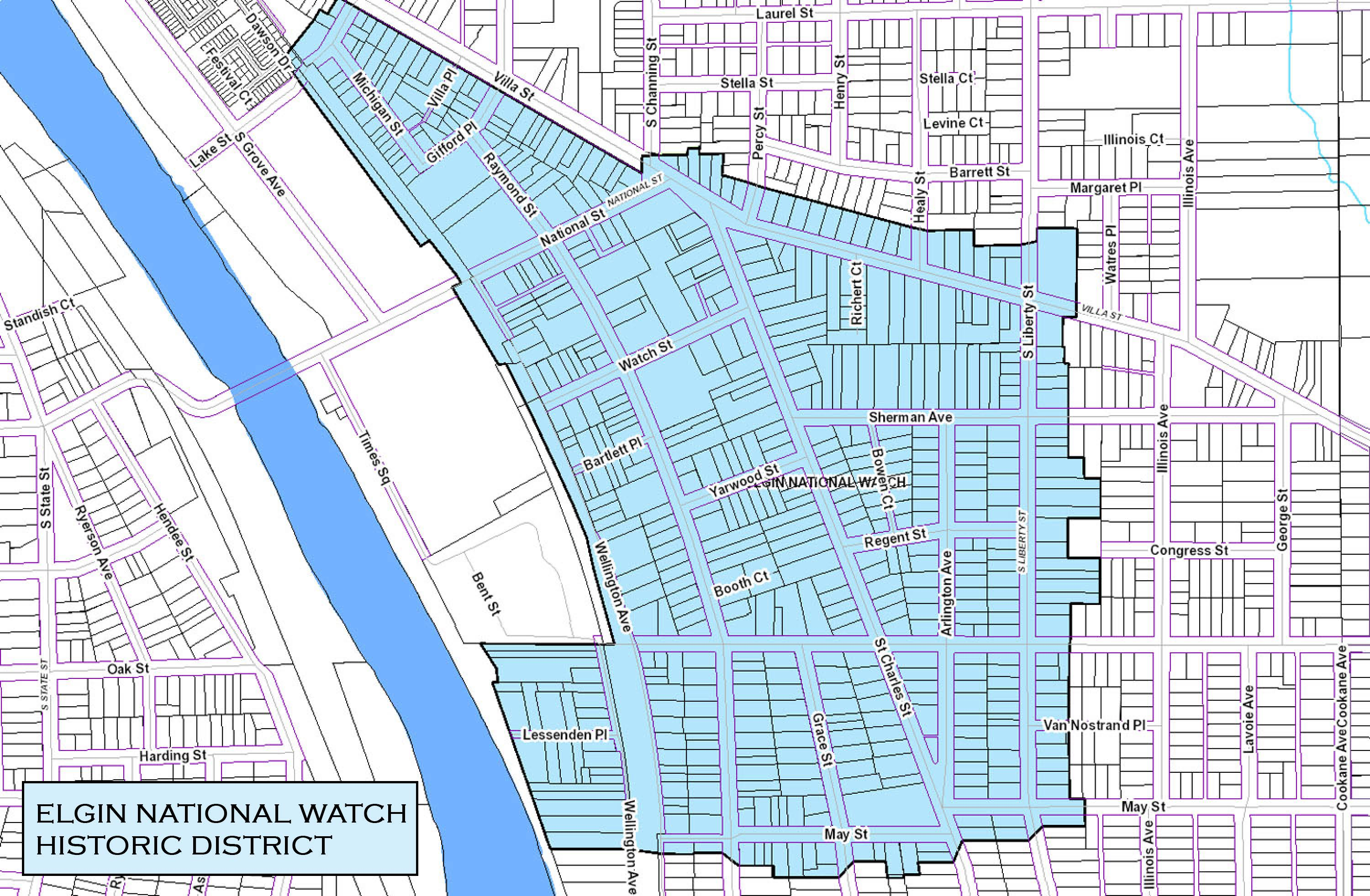 Elgin National Watch Historic District Map