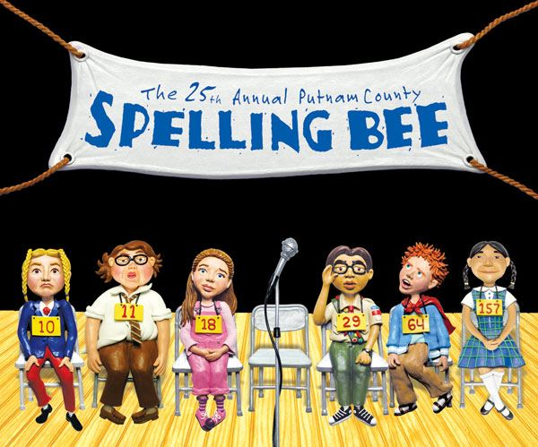 25th Annual Putnam County Spelling Bee (people sitting on stage in a line of chairs to compete)