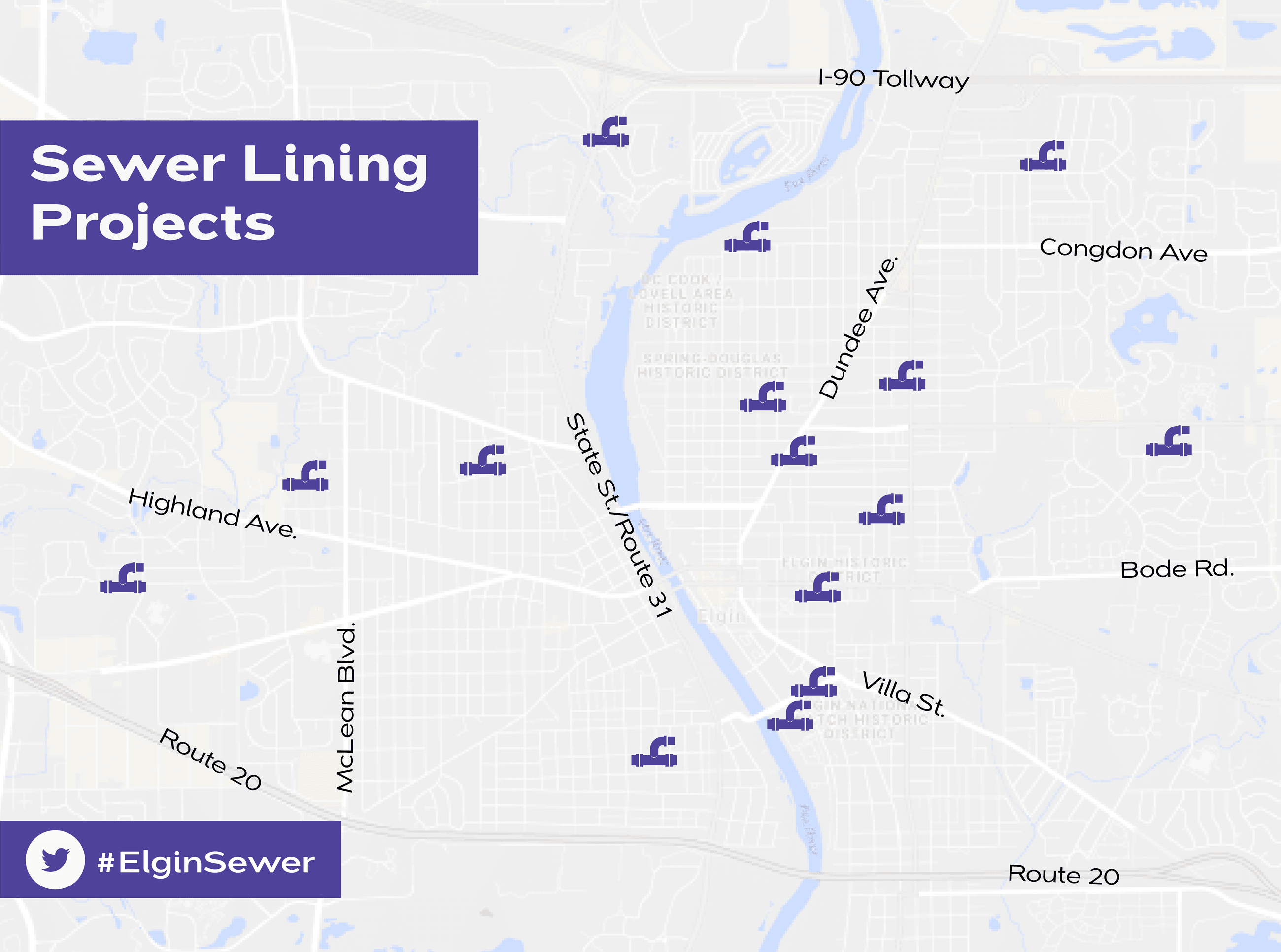 2018 Elgin Map with Sewer Lining project locations marked