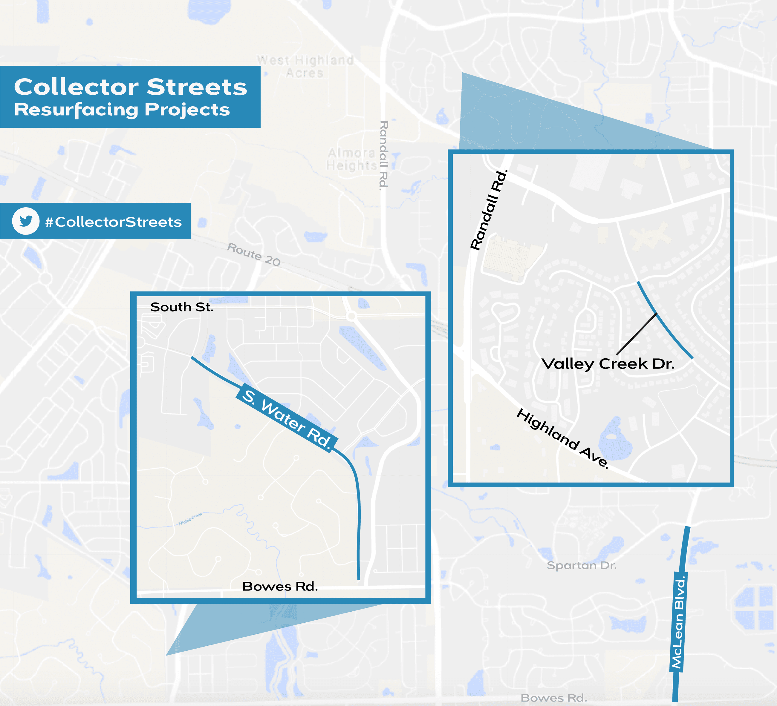 Map of collector streets to be resurfaced west of the Fox River