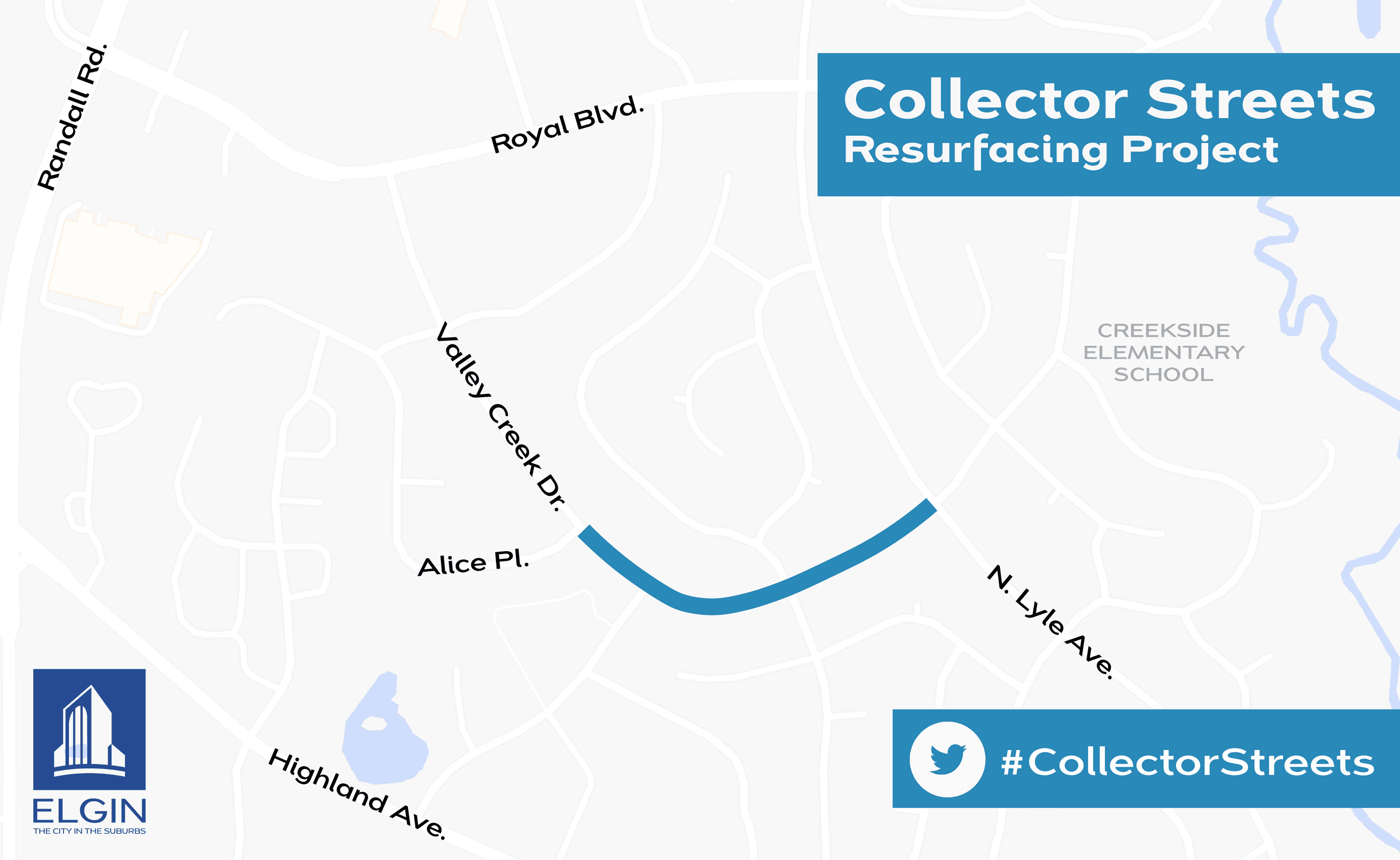Collector Street Resurfacing Map for Valley Creek Dr.