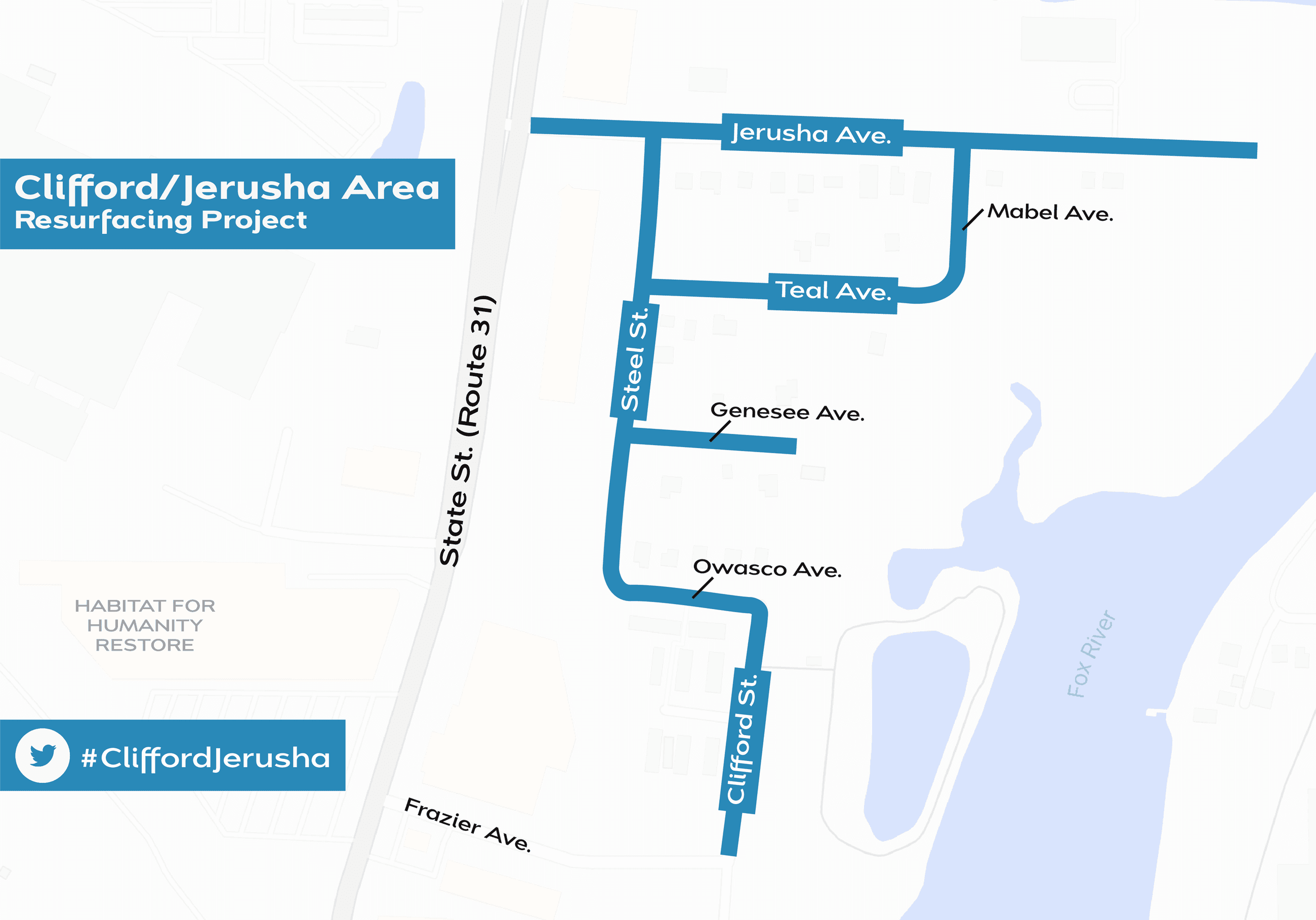 Clifford Jerusha Area Resurfacing project map