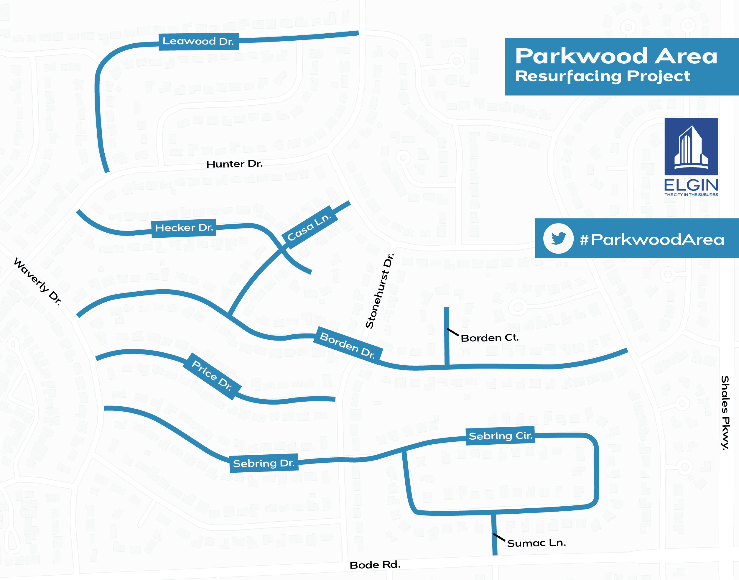 Map highlighting streets in Parkwood subdivision to be resurfaced