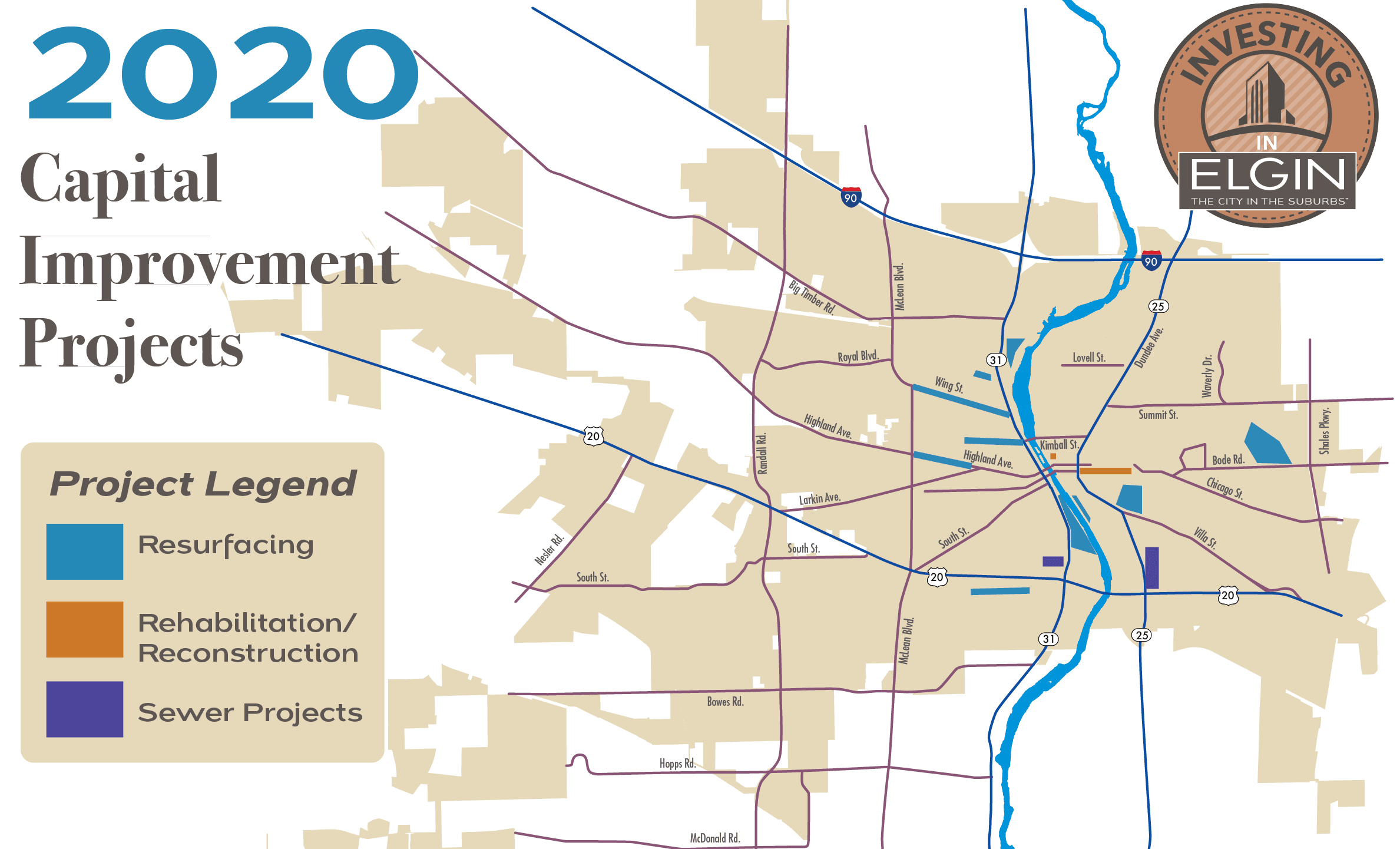 Citywide map marking capital project locations